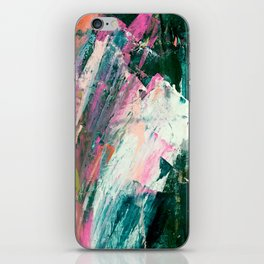 Meditate [2]: a vibrant, colorful abstract piece in bright green, teal, pink, orange, and white iPhone Skin