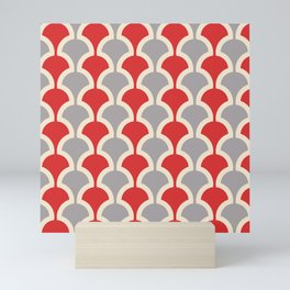 Classic Fan or Scallop Pattern 417 Gray and Red Mini Art Print