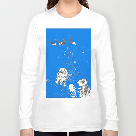 Two Tailed Duck and Jellyfish Royal Brilliant Blue Long Sleeve T-shirt