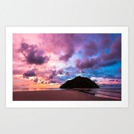 Beautiful beach landscape sunset Art Print