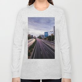 Motorway in Madrid at sunset Long Sleeve T-shirt