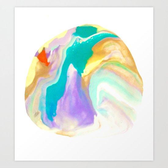 Deep Sea Colorful Surprises Marbling Art Print