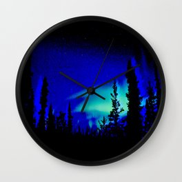 Aurora Borealis Forest Vibrant Wall Clock