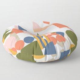 Folksy Geometric Abstract Landscape Floor Pillow