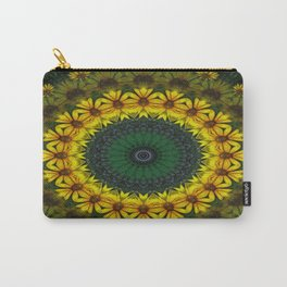 Large Yellow Wildflower Kaleidoscope Art 4 Carry-All Pouch