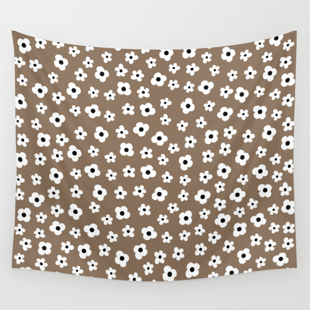 Coffee Brown White Flower Pattern Wall Tapestry by Peladesign TPS7226581
