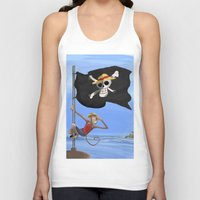 luffy Tank Tops featuring Monkey D Luffy by Laércio Messias