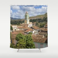 cuba Shower Curtains featuring Trinidad, Cuba by Parrish