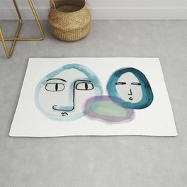 """""""Paper Drawings/Paintings"""" The Wondering and The Lurking in Sapphire Blue Rug"""