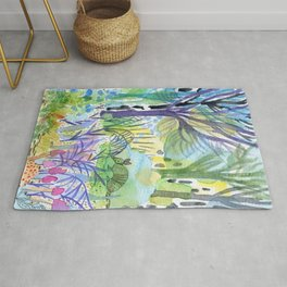 Where the armadillo lives -kids illustration Rug