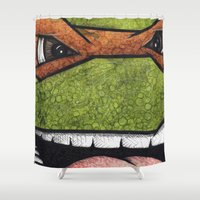 teenage mutant ninja turtles Shower Curtains featuring Michaelangelo (Teenage Mutant Ninja Turtles) by chris panila