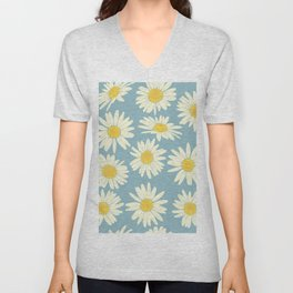 Vintage Daisy Pattern on Blue Unisex V-Neck