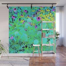 Impressionistic Aqua Garden Landscape Hydrangeas Wall Mural