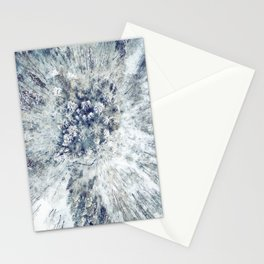 AERIAL. Frozen forest in winter Stationery Cards