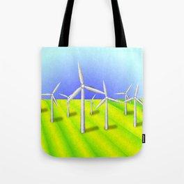 Windfarm in a field Tote Bag
