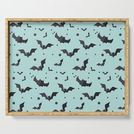 Halloween Green Bat Pattern Serving Tray