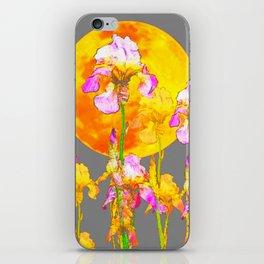 IRIS GARDEN & RISING GOLD MOON  IN GREY SKY iPhone Skin