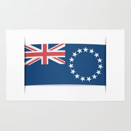 Flag of Cook Islands. The slit in the paper with shadows. Rug
