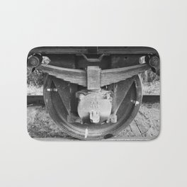 Black and white photography Old train wheel Bath Mat