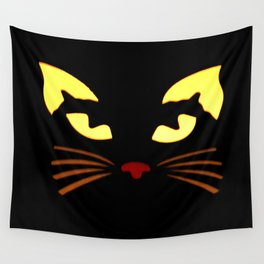 Black Cat at Night Wall Tapestry