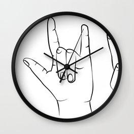 Set of 3 Prints Peace Sign Shaka OK printable wall art, hang loose hand gestures mahalo dude Wall Clock