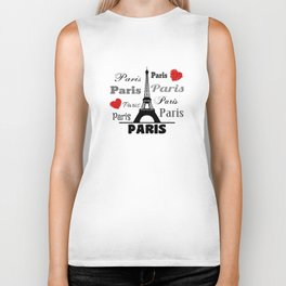 Paris text design illustration 2 Biker Tank