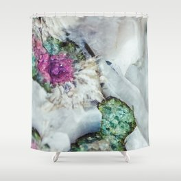 Colorful watermelon tourmaline crystal, macro #society6 Shower Curtain