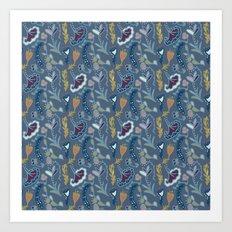 Blue Gray Garden Art Print