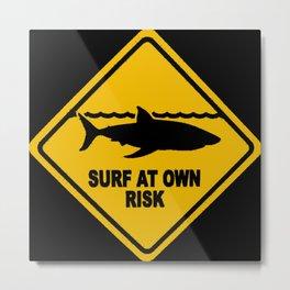 Yellow Shark Warning Sign Surf At Own Risk Surfboard Metal Print