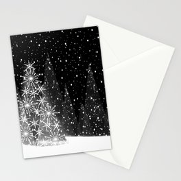 Elegant Black and White Christmas Trees Holiday Pattern Stationery Cards