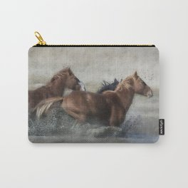 Mustangs Getting Out of a Muddy Waterhole the Fast Way painterly Carry-All Pouch