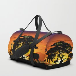 Wild Animals on African Savanna Sunset Duffle Bag