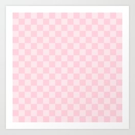 Large Soft Pastel Pink Checkerboard Chess Squares Art Print