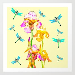 GOLDEN PURPLE IRIS & BLUE DRAGONFLIES Art Print