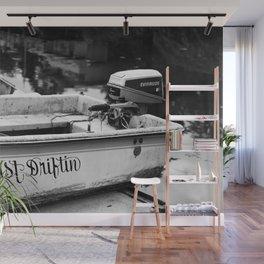 Motor Boat Skiff Dingy Fishing Fisherman Drifter Funny Art Northwest Black White Print Wall Mural