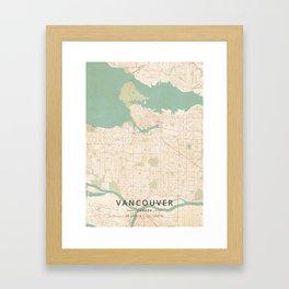 Vancouver, Canada - Vintage Map Framed Art Print
