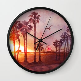 Sunset in Santa Monica Wall Clock