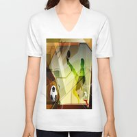 soccer V-neck T-shirts featuring Soccer by Robin Curtiss