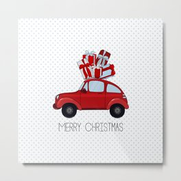 red car with presents Metal Print