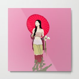Country Girl with Umbrella Holding Flowers  Metal Print