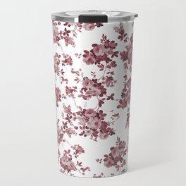 Elegant pastel pink marsala red roses floral pattern Travel Mug