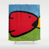 1975 Shower Curtains featuring La pesca de un Miró by Fernando Vieira