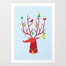 Reindeer (Blue version) Art Print