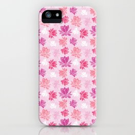 Colorful lotus flower pattern on white background iPhone Case
