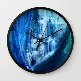 Cerulean [5]: a vibrant blue abstract with texture and layers Wall Clock