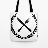 eat Tote Bags featuring Eat by Noah Zark