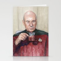 picard Stationery Cards featuring Captain Picard Earl Grey Tea | Star Trek Painting by Olechka