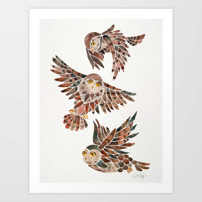 Owls in Flight – Brown Palette Art Print