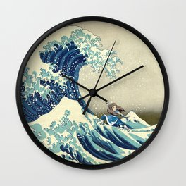 Katara Riding the Wave Wall Clock