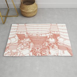 Apollo Rocket Booster - Orange Line Art Rug